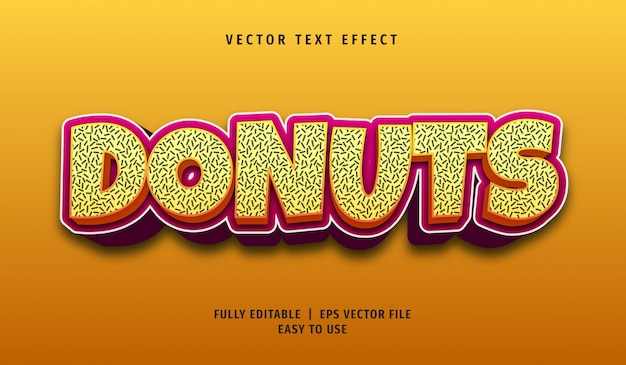 Эффект текста пончиков, редактируемый стиль текста Premium векторы