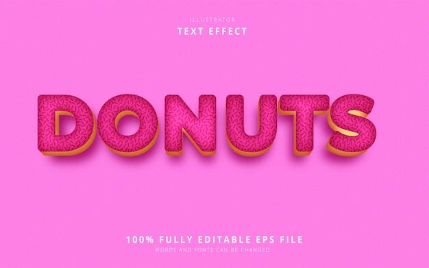 Эффект текста пончиков Premium векторы