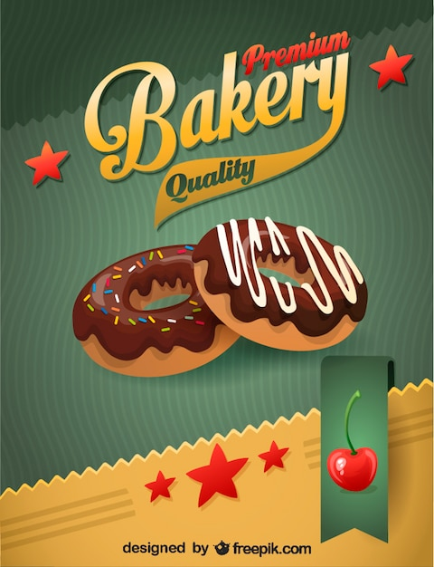 Donuts with chocolate Premium Vector
