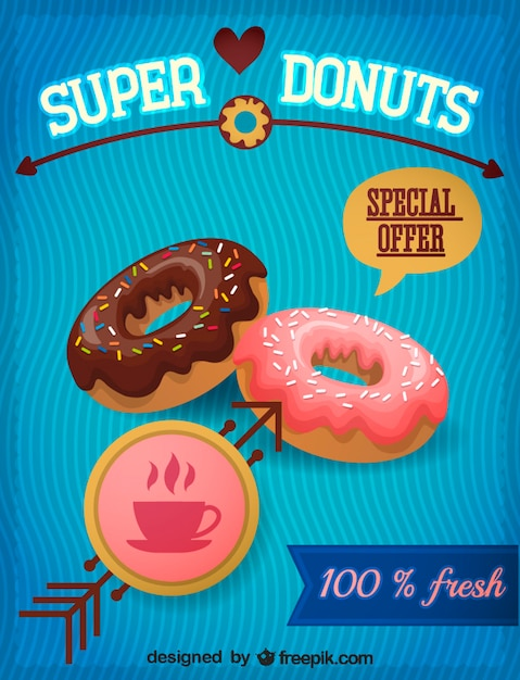 Donuts with strawberry and chocolate topping Free Vector