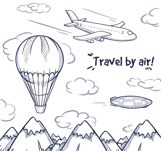 Doodle air trip concept 無料ベクター