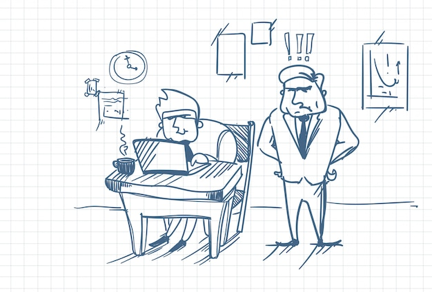 Doodle angry business man boss standing at worker using laptop computer at office workplace Premium Vector