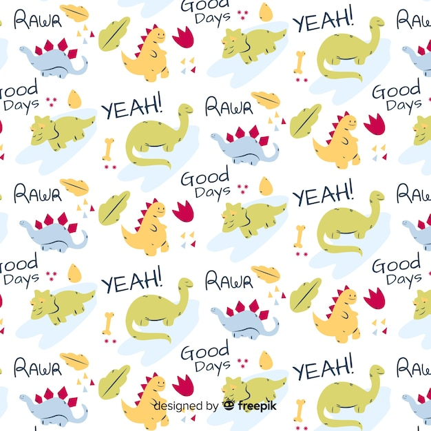 Doodle animal and words pattern Free Vector