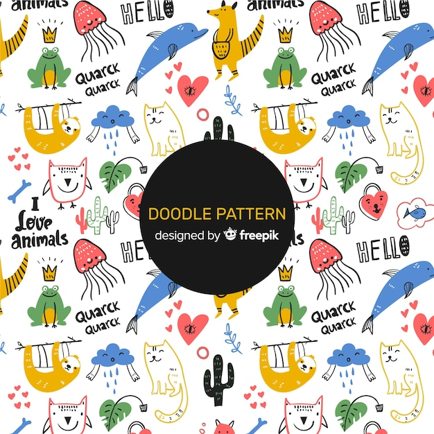 Doodle animals and words pattern Free Vector