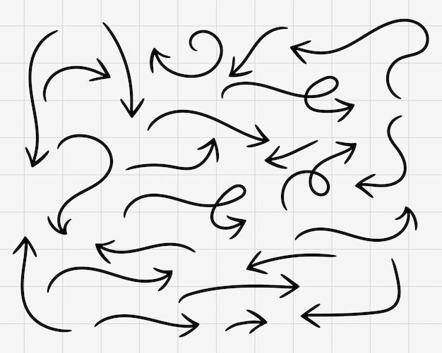 Doodle arrows hand drawn big set Free Vector