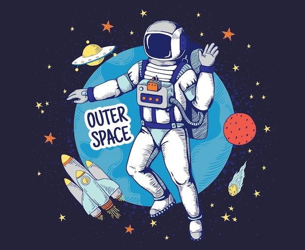 宇宙飛行士を落書き。手描きの宇宙少年のポスター、惑星の星の宇宙オブジェクト、天文学の漫画要素。宇宙飛行士間隔の背景 Premiumベクター