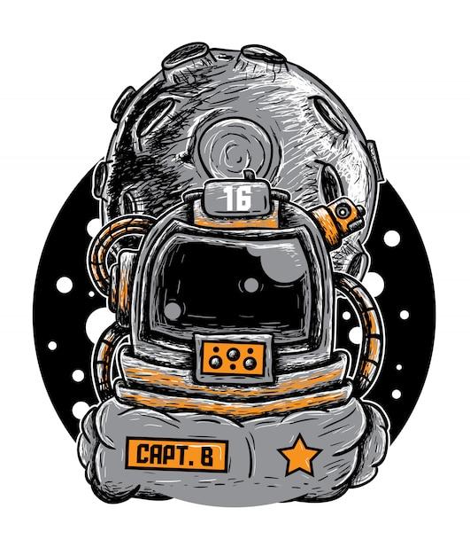 Doodle astronaut vector illustration Premium Vector