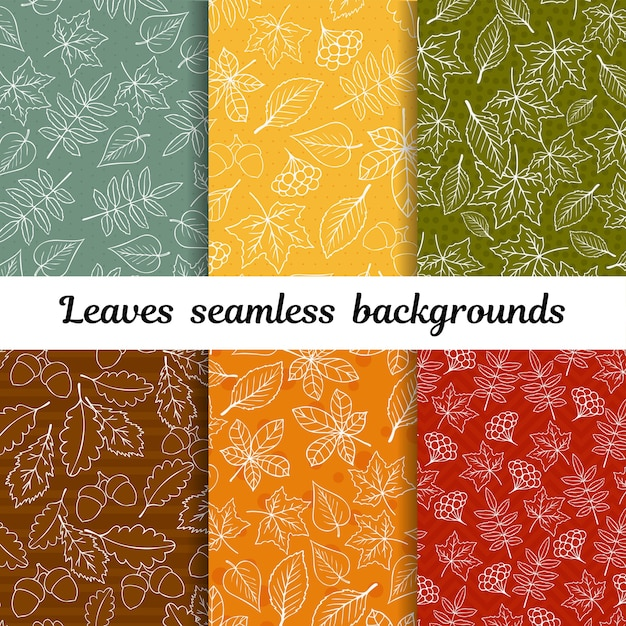 Doodle autumn leaves seamless background vector set Premium Vector