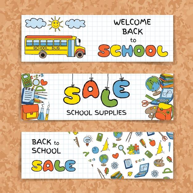 Doodle back to school sale banners Premium Vector