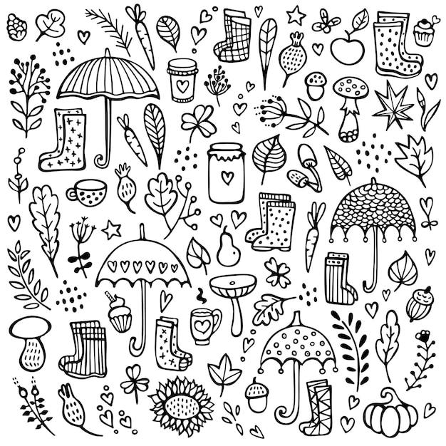 傘、ゴム長靴、枝、その他の花の要素で背景を落書き Premiumベクター