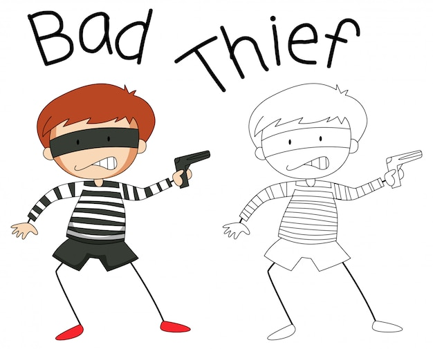 Doodle bad thief character Free Vector