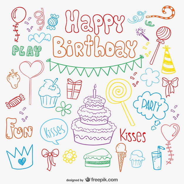 Doodle birthday card vector free download - Birthday cards images free download ...