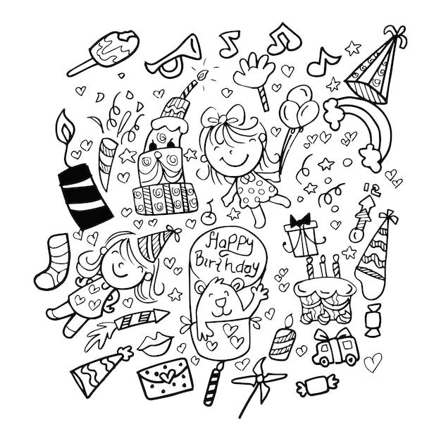 Doodle birthday elements Premium Vector