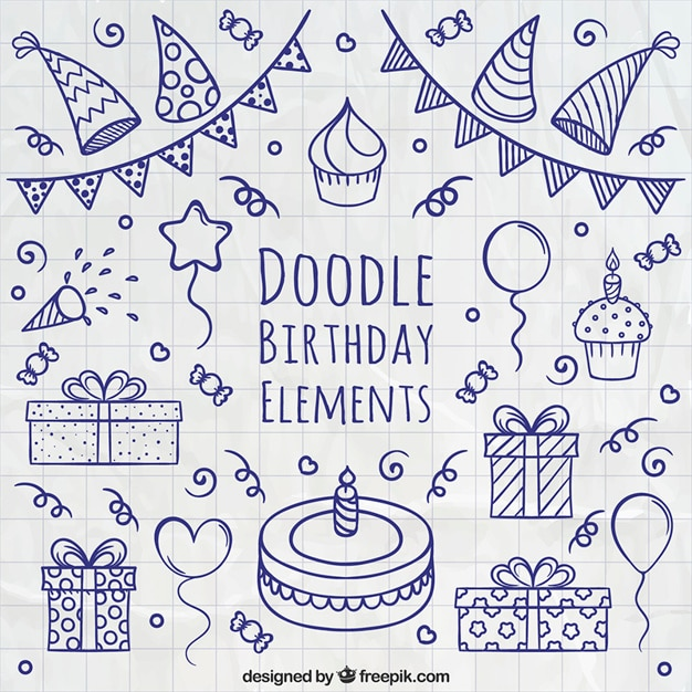 Doodle birthday elements Free Vector
