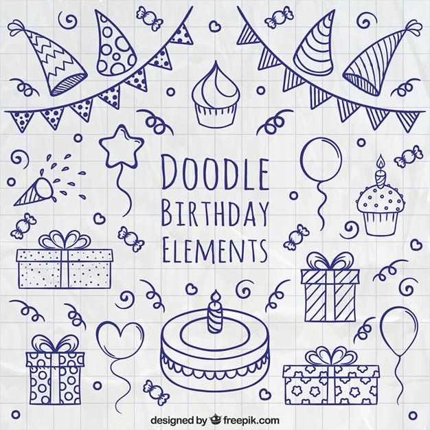 Doodle birthday elements Free Vector