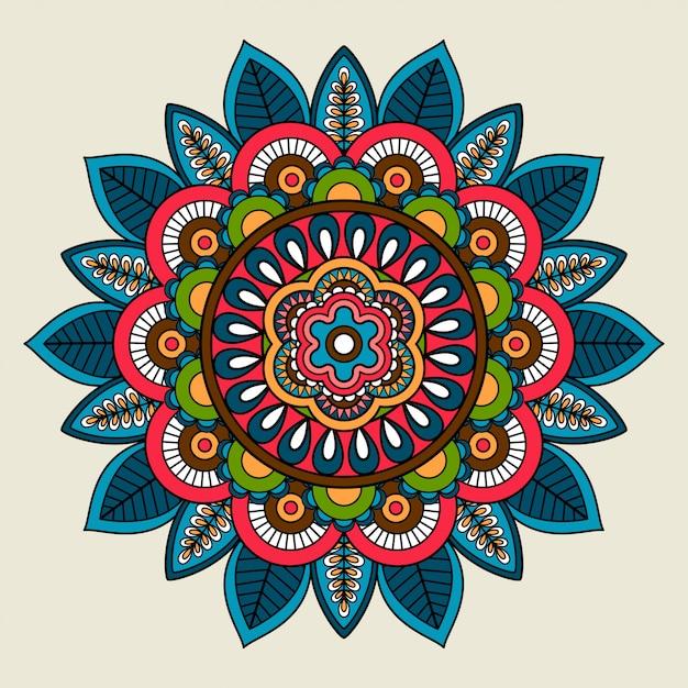 Doodle boho floral colored mandala Premium Vector
