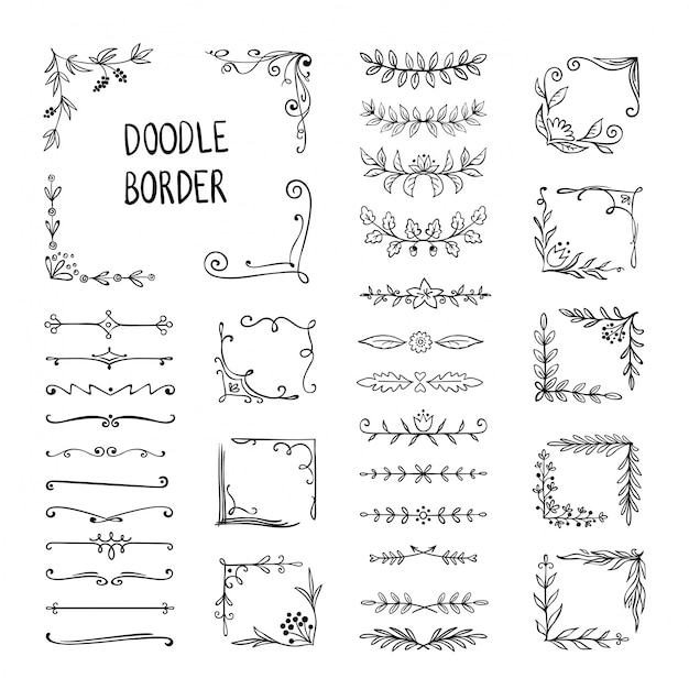 Doodle border. flower ornament frame, hand drawn decorative corner elements, floral sketch pattern. doodle frame elements Premium Vector