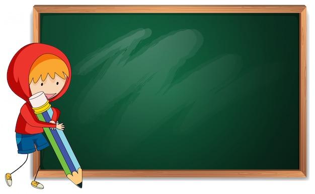 Doodle boy holding pencil blackboard template Premium Vector