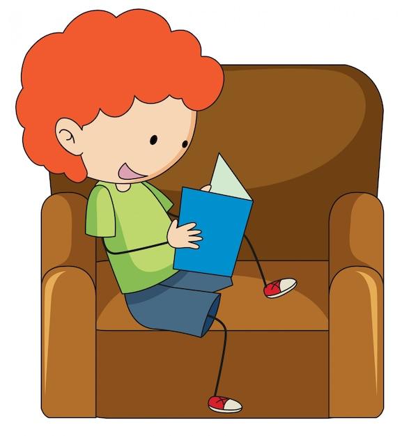 Doodle boy reading book Premium Vector