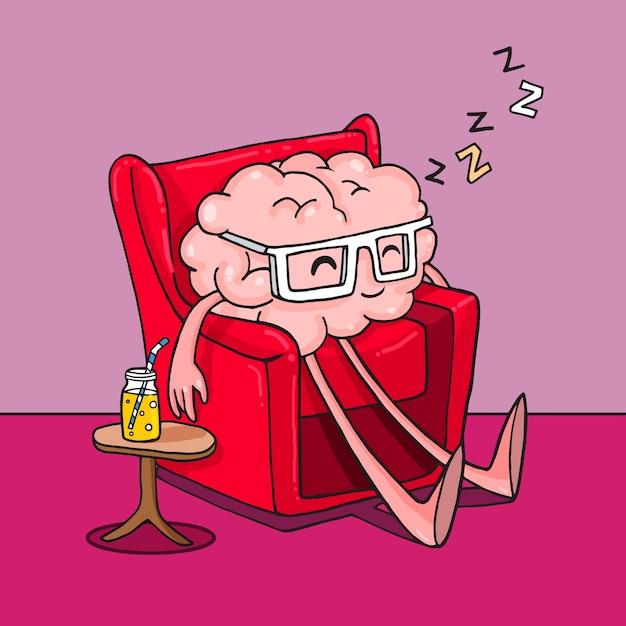 Doodle brain that rests on an armchair Premium Vector