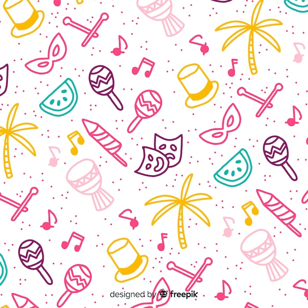 Doodle brazilian carnival background Free Vector