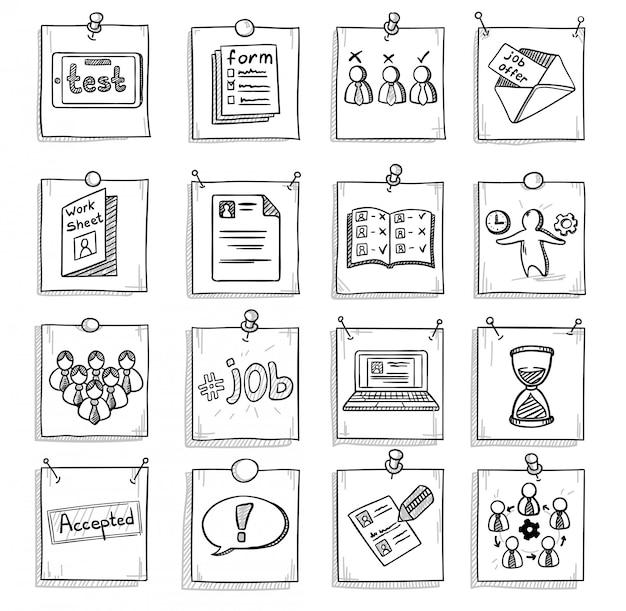 Insieme di elementi di sviluppo di carriera aziendale di doodle Vettore gratuito