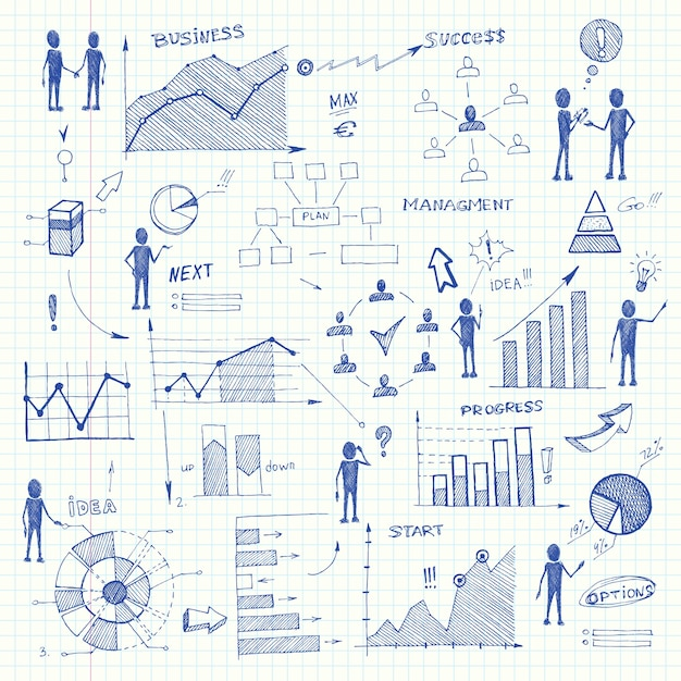 Doodle business charts infographics elements Free Vector