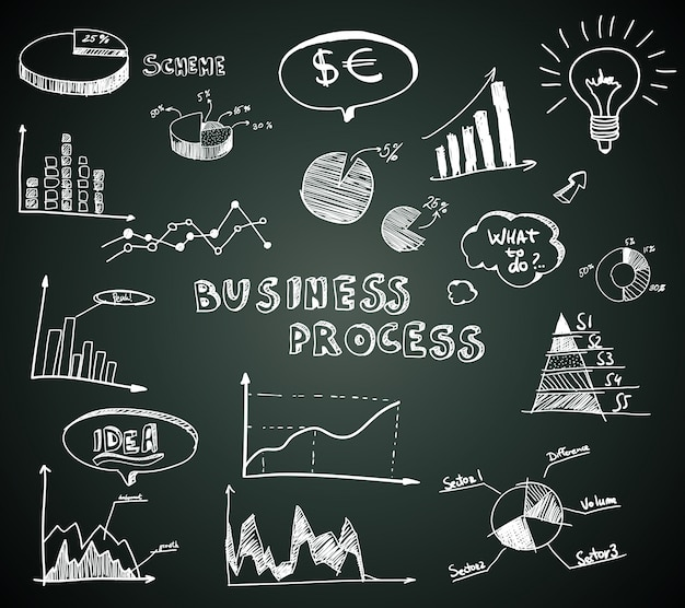 Doodle business diagrams set on blackboard Free Vector