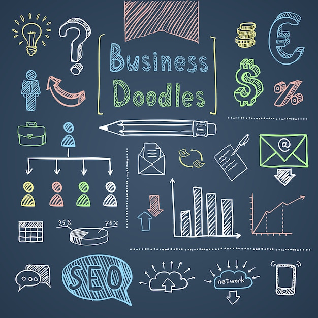 Doodle business set Free Vector