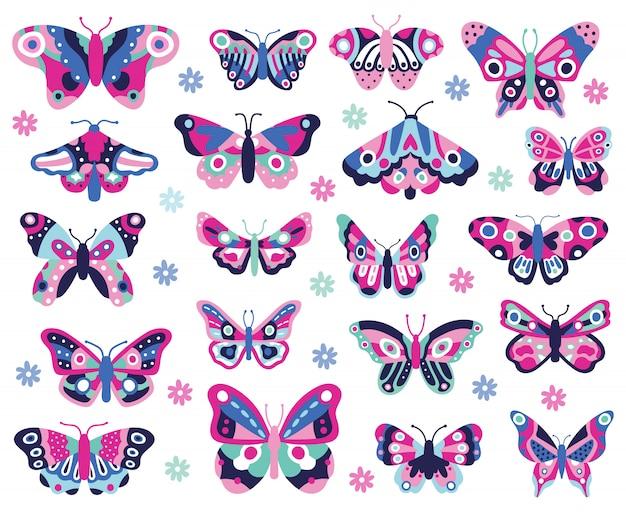 낙서 나비 곤충. 손으로 그린 봄 곤충, 화려한 비행 빠삐용. 드로잉 나비 아이콘 모음. 나비 곤충 드로잉 색상, 여름 자연 그림 프리미엄 벡터