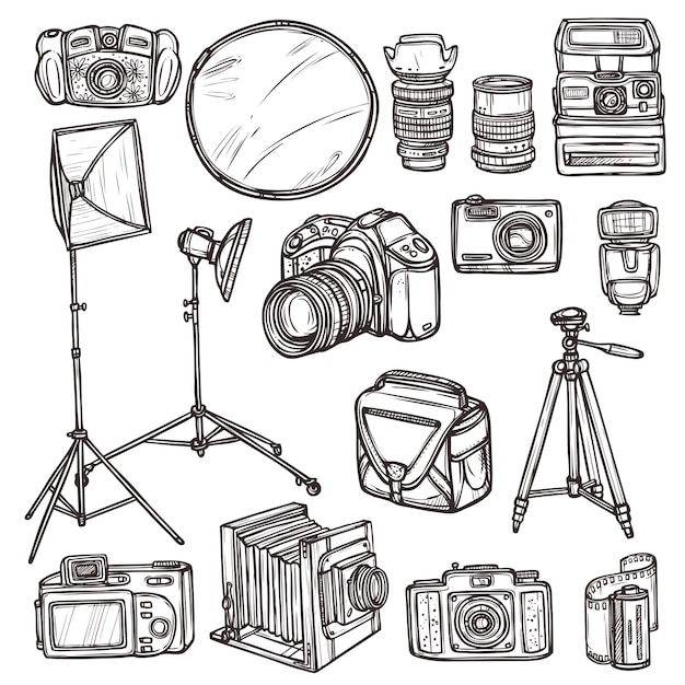 Doodle camera icons set Free Vector