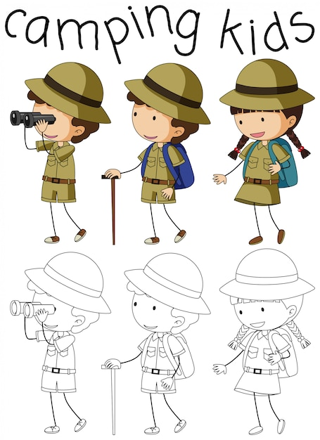 Doodle camping kids character Free Vector
