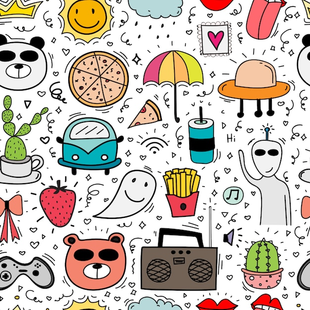 Doodle cartoon seamless pattern background for kid. Premium Vector