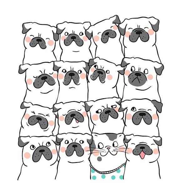 イラストの文字のデザインの肖像画かわいいパグの犬doodle Cartoon Style