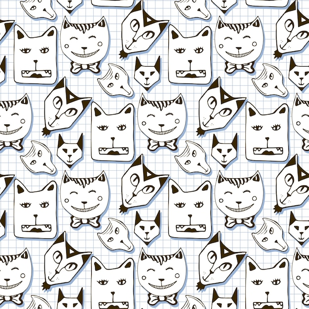 Doodle Cats Seamless Pattern Hand Drawn Cartoon Cute Animal Faces