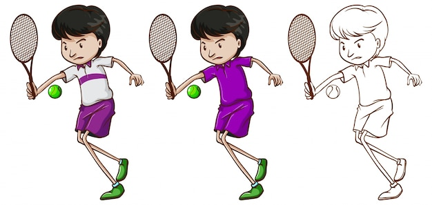 Doodle character for male tennis player\ illustration