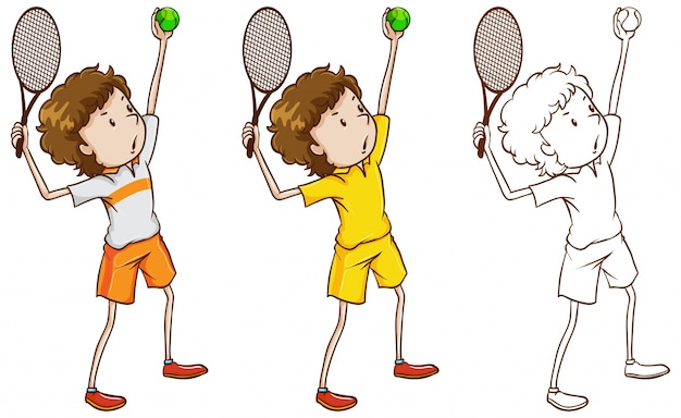 Doodle character for tennis player\ illustration