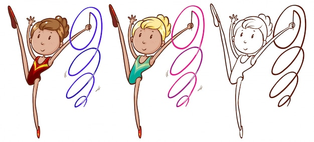 Doodle character for girl doing gymnastic with ribbon Free Vector