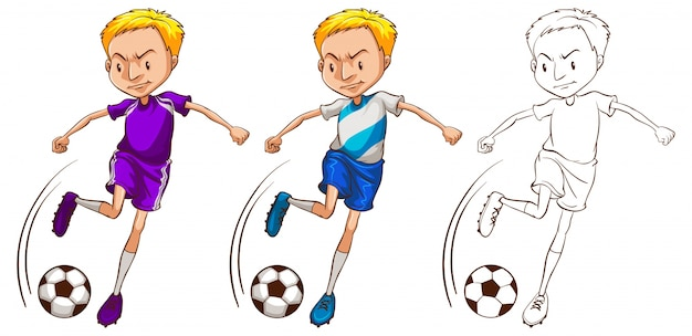 Doodle character for soccer player illustration Vector