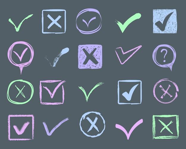확인 표시와 밑줄을 낙서합니다. 손으로 그린 획 및 펜 표시 목록 항목에 대한 V 표시. 그려진 마커 요소, 플래그, 눈금, 밑줄, 브러시 선, 원, 직사각형. 삽화. 프리미엄 벡터