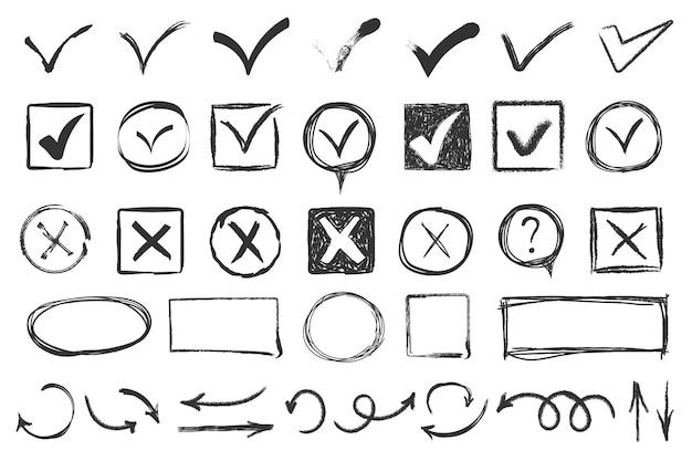 チェックマークを落書き。チェックマークのスケッチ、投票チェックリストのマークまたは試験のタスクリスト。手描きダニvxはいはいokサイン。チェックボックスチョークアイコン、スケッチチェックマーク。 Premiumベクター