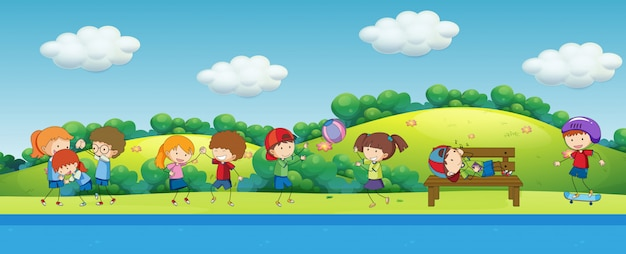 Doodle children playing in the park Free Vector