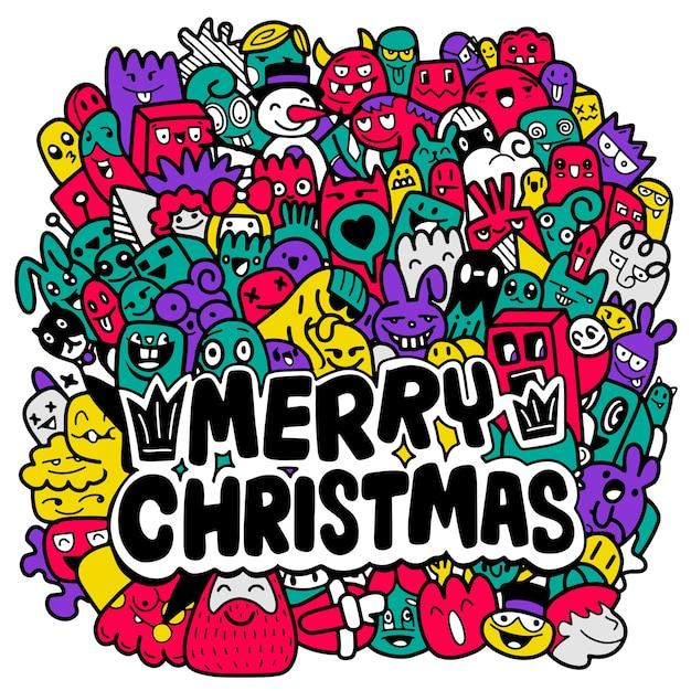 落書きクリスマスの背景、クリスマス落書き。手描きのクリスマスイラスト。 Premiumベクター
