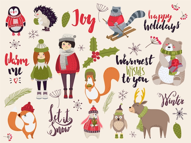 Doodle christmas creatures, cute animals and people in winter cloth, hand drawn illustration Premium Vector