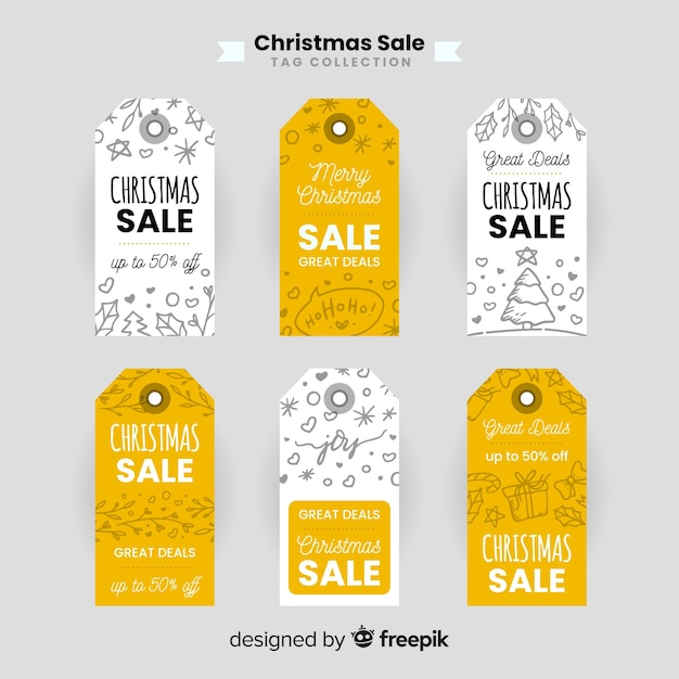 Doodle christmas sale label collection Free Vector