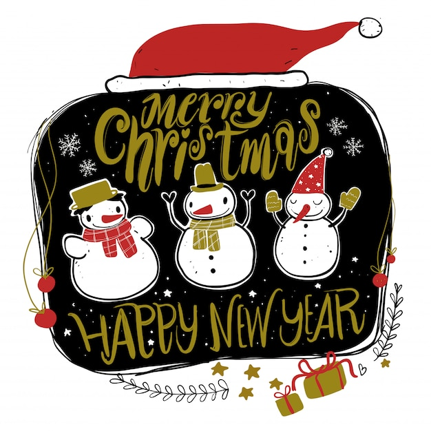 Doodle christmas season icons and vintage graphic elements. chalkboard effect. Premium Vector