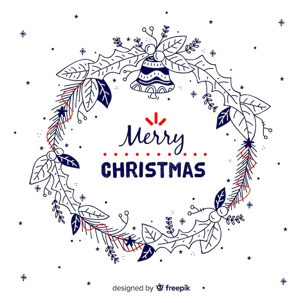 Doodle christmas wreath Free Vector