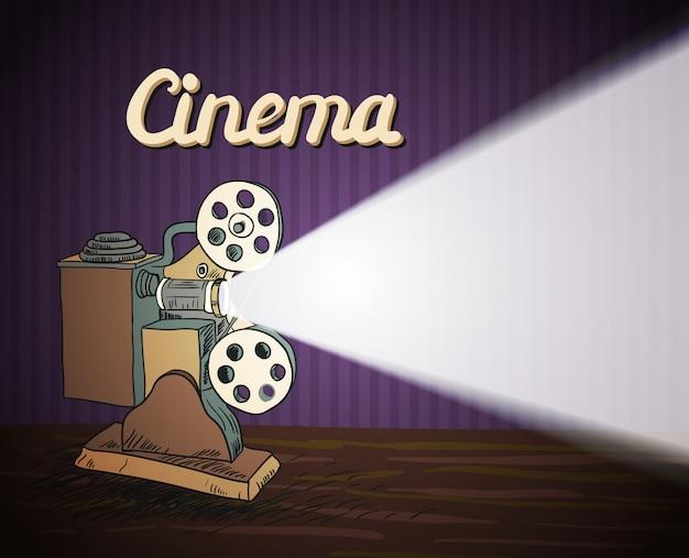 Doodle cinema projector Premium Vector