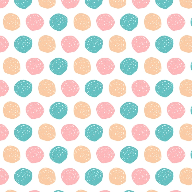 Doodle circles pattern background hand drawn Free Vector