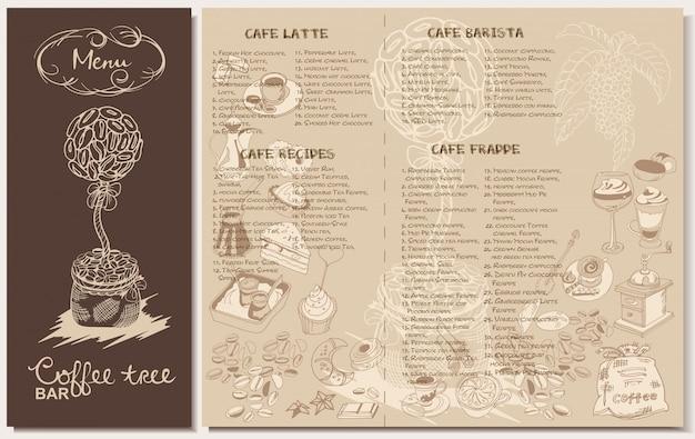 Modello di menu ristorante caffè doodle Vettore gratuito